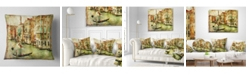 "Design Art Designart 'Vintage Venice' Digital Art Landscape Printed Throw Pillow - 16"" x 16"""