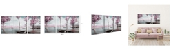 "Chic Home Decor Blossom 3 Piece Wrapped Canvas Wall Art Lakeside Scene -20"" x 40"""