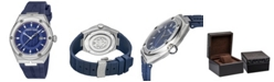Roberto Cavalli By Franck Muller Men's Swiss Quartz Blue Rubber Strap Watch, 43mm