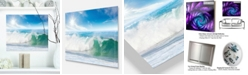 "Design Art Designart 'White And Blue Waves Under Sun' Seascape Metal Wall Art - 20"" X 12"""