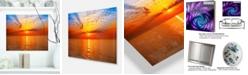 "Design Art Designart 'Orange Sea Sunrise Under Blue Sky' Large Seashore Metal Wall Art - 20"" X 12"""