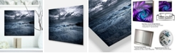 "Design Art Designart 'Sochi Sea Storm In Blue' Modern Landscape Metal Wall Art - 20"" X 12"""