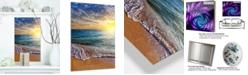 "Design Art Designart 'Layers Of Colors On Sunrise Beach' Seascape Metal Wall Art - 12"" X 20"""