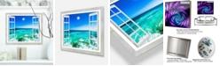 "Design Art Designart 'Open Window To Wavy Ocean' Extra Large Seashore Metal Wall Art - 20"" X 12"""