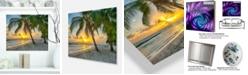 "Design Art Designart 'Beach In Caribbean Island Of Barbados' Modern Seascape Metal Artwork - 20"" X 12"""