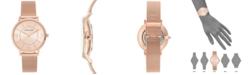 Anne Klein Women's Rose Gold-Tone Stainless Steel Mesh Bracelet Watch 34mm