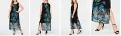 Connected Plus Size Floral Printed Chiffon Maxi Dress