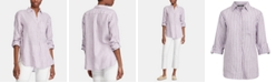 Lauren Ralph Lauren Stripe-Print Long-Sleeve Linen Shirt