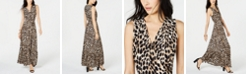 INC International Concepts INC Leopard-Print Faux-Wrap Maxi Dress, Created for Macy's