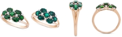 Macy's Emerald (1-1/8 ct. t.w.) & Diamond (1/10 ct. t.w.) Statement Ring in 14k Gold