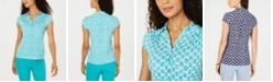 Charter Club Printed Cap-Sleeve Polo, Created for Macy's
