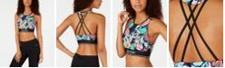 Calvin Klein Island Cheetah Printed Strappy-Back Medium-Impact Sports Bra