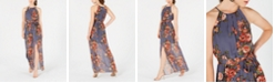 BCX Juniors' Floral-Print Slit Maxi Dress