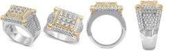 Macy's Men's Diamond Two-Tone Statement Ring (4-3/4 ct. t.w.) in 10k Gold & White Gold