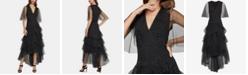 BCBGMAXAZRIA Flocked-Dot Tulle Maxi Dress