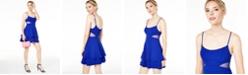 B Darlin Juniors' Mesh-Inset Fit & Flare Dress, Created for Macy's