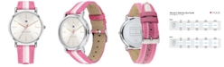 Tommy Hilfiger Women's Pink & White Nylon Strap Watch 35mm, Created for Macy's