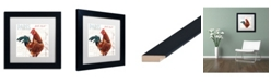 "Trademark Global Jennifer Redstreake 'Dans la Ferme Rooster II' Matted Framed Art - 11"" x 11"""