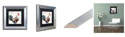 """Trademark Global Jennifer Redstreake 'Dans la Ferme Rooster III' Matted Framed Art - 11"""" x 11"""""""