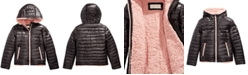 Michael Kors Big Girls Faux-Fur-Lined Hooded Puffer Jacket