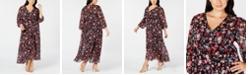Calvin Klein Trendy Plus Size High-Low Faux-Wrap Dress