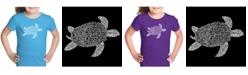 LA Pop Art Girl's Word Art T-Shirt - Turtle