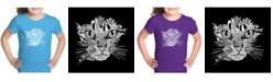 LA Pop Art Girl's Word Art T-Shirt - Cat Face
