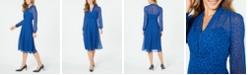 Anne Klein Printed V-Neck Fit & Flare Dress
