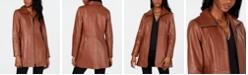Anne Klein Stand-Collar Leather Jacket
