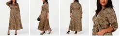 INC International Concepts I.N.C. Plus Size Animal-Print Shirtdress, Created for Macy's
