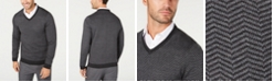 Tasso Elba Men's Merino Wool Blend V-Neck Herringbone Sweater, Created for Macy's