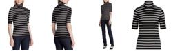 Lauren Ralph Lauren Stripe-Print Stretch Turtleneck Top