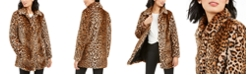 Anne Klein Leopard-Print Faux-Fur Coat