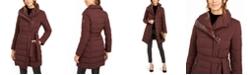Tahari Asymmetrical Belted Puffer Coat