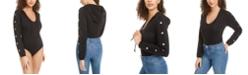 Material Girl Juniors' Stud-Trimmed Hoodie Bodysuit, Created for Macy's