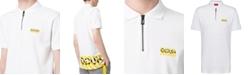 HUGO Men's Regular-Fit Stripe Logo-Print 1/4-Zip Polo Shirt
