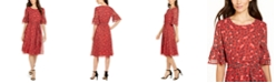 Anne Klein Printed Flutter-Sleeve Fit & Flare Dress