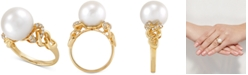 Honora White Ming Pearl (12mm) & Diamond (1/6 ct. t.w.) Ring in 14k Gold