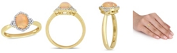 Macy's Yellow Opal (3/4 ct. t.w.) and Diamond (1/8 ct. t.w.) Halo Ring 10k Yellow Gold