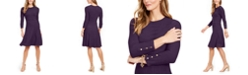Jessica Howard Ribbed Button-Cuff Sweater Dress