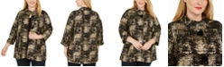 JM Collection Plus Size Jacquard Button-Front Jacket, Created For Macy's