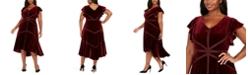 Taylor Plus Size Velvet High-Low A-Line Dress