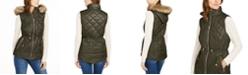 Michael Kors Hooded Faux-Fur-Trim Puffer Vest
