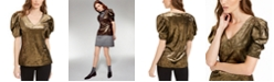 INC International Concepts INC Velvet Puff-Sleeve Top, Created For Macy's