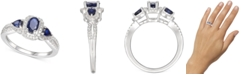Macy's Sapphire (7/8 ct. t.w.) & Diamond (1/6 ct. t.w.) Statement Ring in Sterling Silver