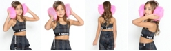 Lanoosh Toddler Fitted Sports Bra with Trendy Logo Elastic Band In A Racerback Straps