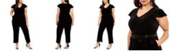 Jessica Howard Plus Size Velvet Belted Jumpsuit