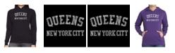 LA Pop Art Women's Word Art Hooded Sweatshirt -Popular Neighborhoods In Queens, Ny