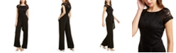 BCX Juniors' Lace-Trimmed Wide-Leg Jumpsuit