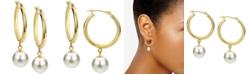 "Macy's Cultured Freshwater Pearl (8mm) Dangle Medium Hoop Earrings in 14k Gold, 1.25"""
